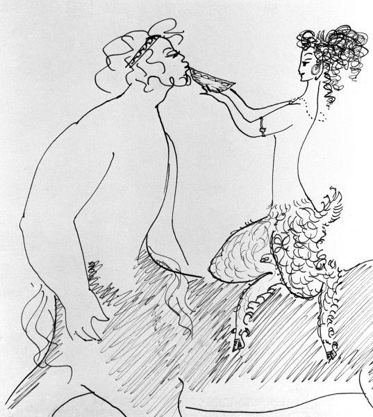 Репродукция рисунка Нади Рушевой «Сатиресса поит Кентавра». Перо. 1966 год.