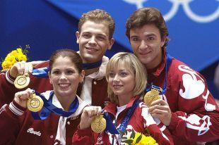 Олимпийские чемпионы в парном фигурном катании Джейми Сэйл, Давид Пеллетье, Елена Бережная, Антон Сихарулидзе, 2002 год.