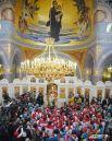 В первый день сборную благославлял патриарх Кирилл - в новом храме построенном в византийском стиле