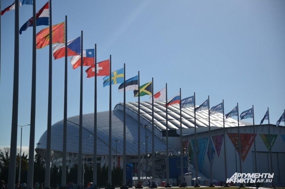 Вид на стадион «Фишт» в Олимпийском парке в Сочи.