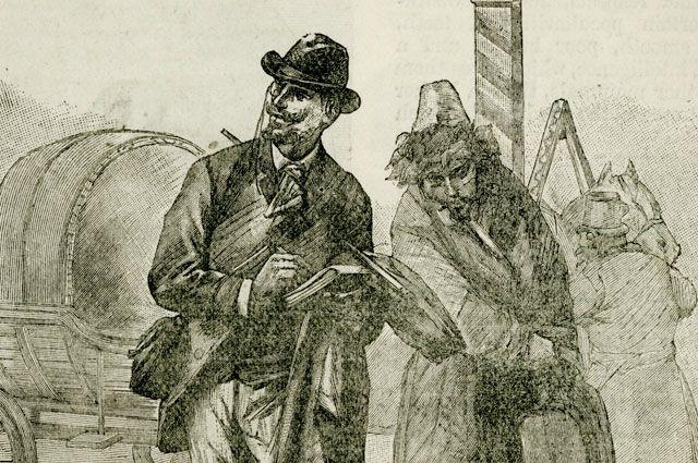 Иллюстрация к изданию романа Жюля Верна «Клодиус Бомбарнак» 1893 года.