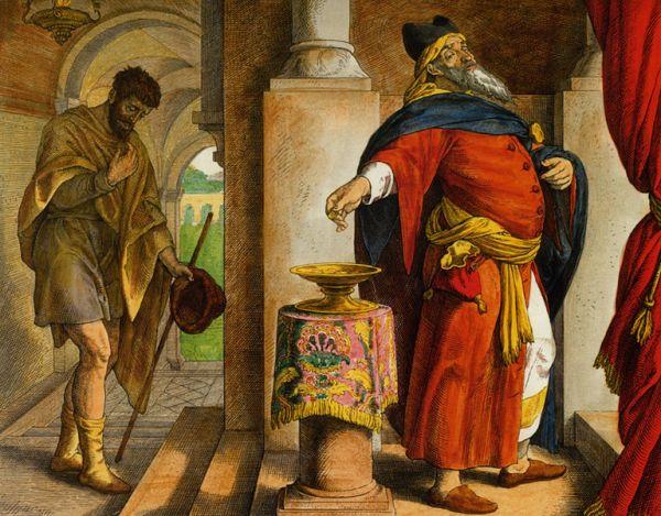 В притче говорится, что фарисей, обращаясь к Богу, возблагодарил Его за то, что он не такой, как все остальные люди, и перечислил свои достоинства, что он и молится, и постится. А затем поблагодарил Господа за то, что он не такой, как мытарь, что стоял рядом с ним. Мытарь же, зная о том, что неправеден, обращался к Господу, не смея воззреть на небо, и говорил: «Боже, будь милостив ко мне, грешному» (Лк. 18:13).