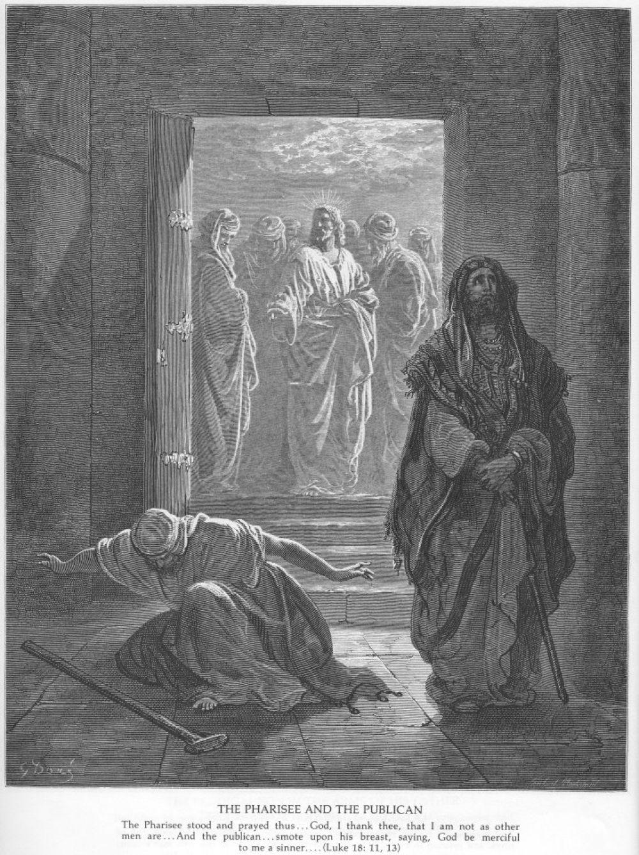 Лука 18: 10- 14. «Два человека вошли в храм помолиться: один фарисей, а другой мытарь».   Притча о мытаре и фарисее выражает ту духовную истину, что «Бог гордым противится, а смиренным дает благодать» (Иак. 4: 6).Чтение этой притчи из Евангелия призывает верующих подойти к посту с покаянием и без гордыни. С этого дня и до пятой недели Великого поста за Всенощным бдением после чтения Евангелия поется покаянная молитва: «Покаяния отверзи ми двери».