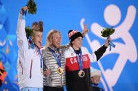 Призёры слоупстайла среди мужчин в соревнованиях по сноуборду: Столе Сандбек (Норвегия) — серебряная медаль, Сейдж Коценбург (США) — золотая медаль, Марк Макморрис (Канада) — бронзовая медаль.