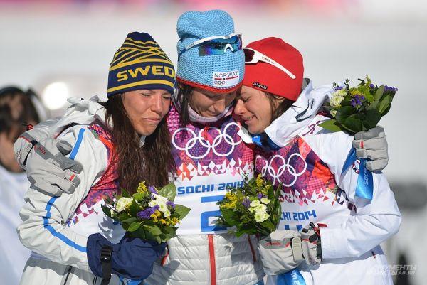 Не менее выразительными стали и соревнования по скиатлону.