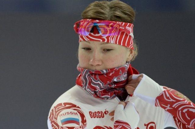 Ольга Фаткулина на тренировке сборной России по конькобежному спорту перед началом XXII зимних Олимпийских игр в Сочи.