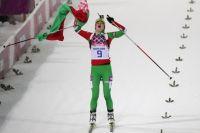 Победу в гонке преследования на 10 км одержала белоруска Дарья Домрачева.