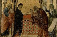«Сретение», фрагмент. Дуччо, 1308–1311 годы.
