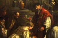 Св. Валентин Римский крестит св. Луциллу (около 1575). Фрагмент.