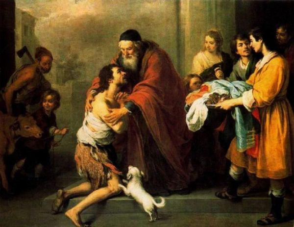 На этой картине сын, одетый в лохмотья, стоит на коленях перед своим отцом, который обнимает его или делает жест прощения или благословения. Один или несколько слуг несут одежду блудному сыну. Старший брат принимает его холодно. На заднем плане на убой ведут теленка, поскольку он является жертвой, принесённой во искупление греха.