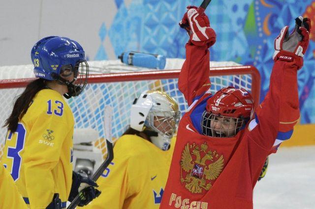 Челябинка Александра Вафина радуется забитому голу в матче со сборной Швеции