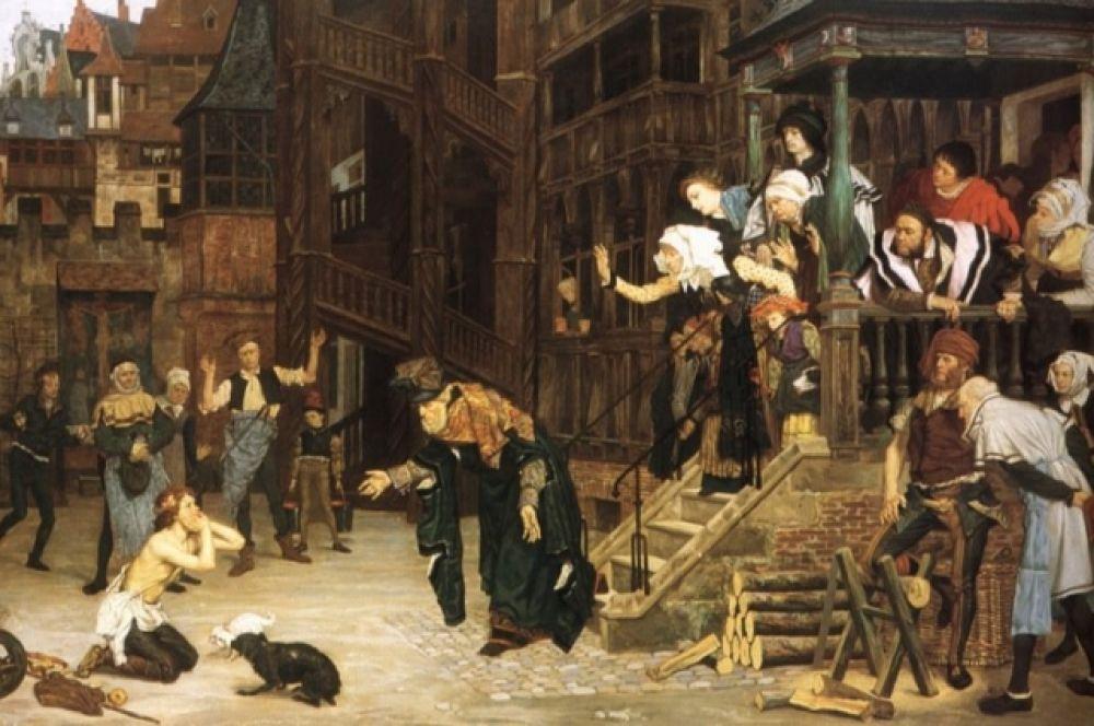 Это первая работа Джейма Тиссо по сюжету притчи о блудном сыне. Она помещена в обстановку средневековья.