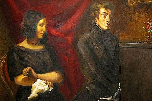 Жорж Санд и Фредерик Шопен. Работа Э. Делакруа. 1838 год.