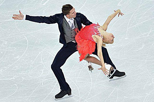 Екатерина Боброва и Дмитрий Соловьев. Выступление в короткой программе на XXII зимних Олимпийских играх в Сочи.
