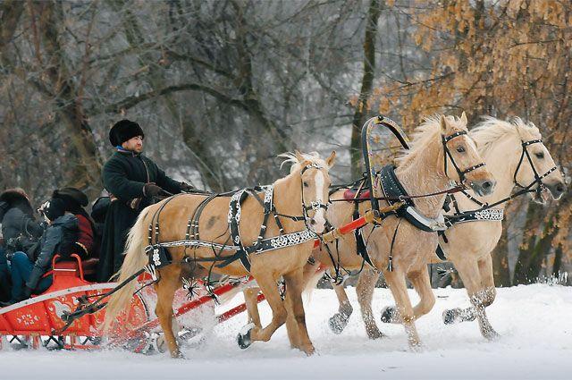 Катание на санях до сих пор популярно! Прогулка на тройке в Коломенском.