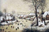 Питер Брейгель старший. «Пейзаж с конькобежцами и ловушкой для птиц». 1565 год. Королевский музей изящных искусств, Брюссель.