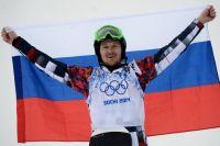 Николай Олюнин после финиша гонки в сноуборд-кроссе.