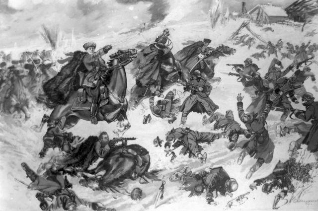 «Генерал Доватор в бою». Художники братья Аладжаловы. 1942 год.