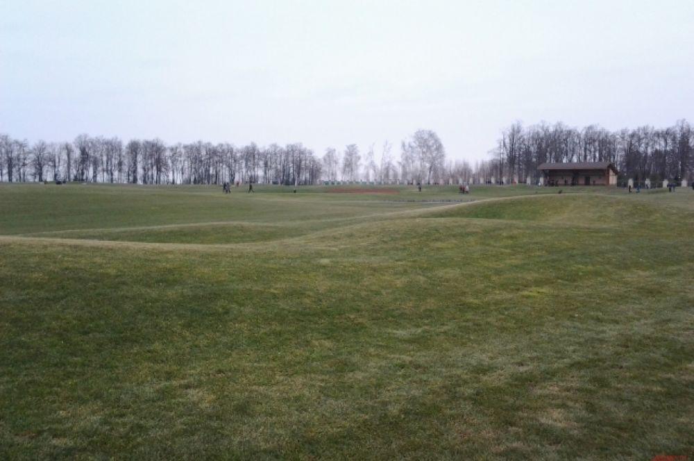 Обширное поле для гольфа с мягчайшей травой вызывало восхищение у всех