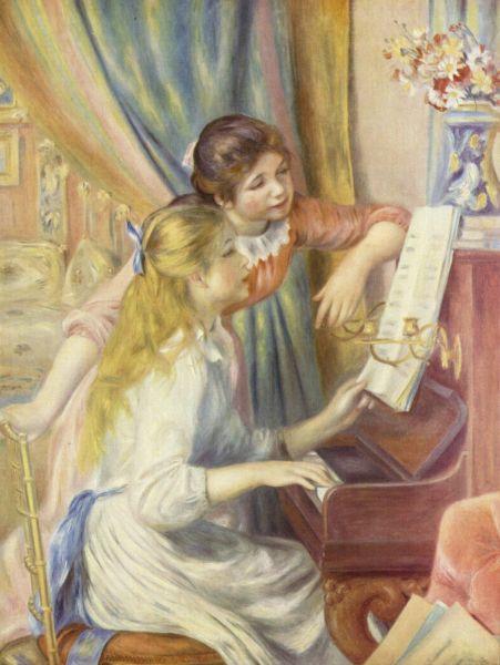 В 1892 году у Поля Дюран-Рюэля прошла выставка 51-летнего Ренуара. Она пользовалась огромным успехом - были показаны новые полотна Ренуара. Одной из главных работ стала картина «Девушки за фортепьяно». Все объекты были детально прорисованы и подчёркивались тенями, сюжет полотна представлял собой классическую буржуазную сцену того времени, однако полотно несло в себе прежнее свежее и безмятежное очарование картин Ренуара. Это была первая картина художника, купленная для государственного собрания – она была приобретена Музеем в Люксембургском саду.