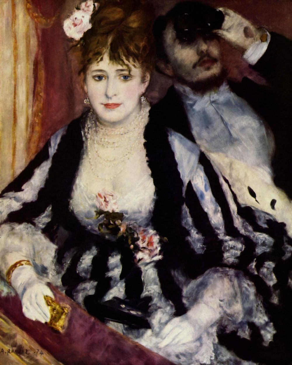 Первая выставка товарищества импрессионистов открылась в апреле 1874 года. Ренуар представил там «Танцовщицу» и «Ложу». Эта выставка обернулась провалом, но именно тогда молодых художников прозвали «импрессионистами» - поначалу это слово носило презрительный характер.