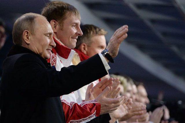 Президент России Владимир Путин, на церемонии закрытия XXII зимних Олимпийских игр в Сочи.