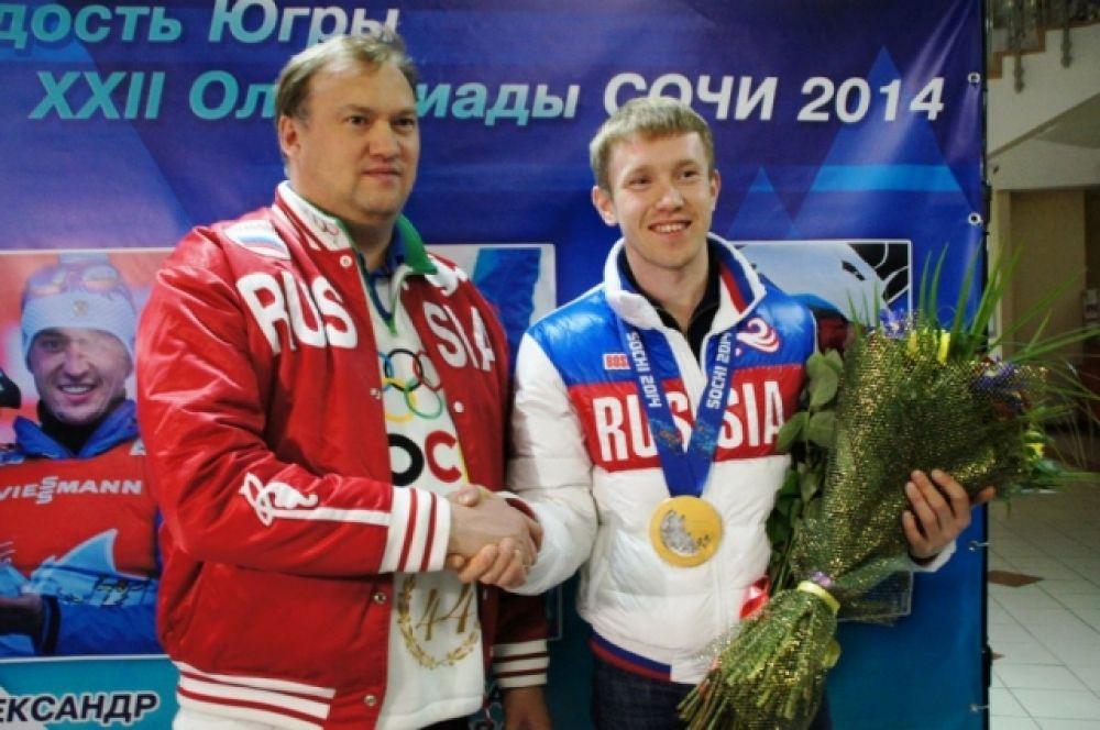 Алексея Волкова с победой поздравил олимпийский чемпион по биатлону и ныне директор департамента спорта Югры Евгений Редькин.