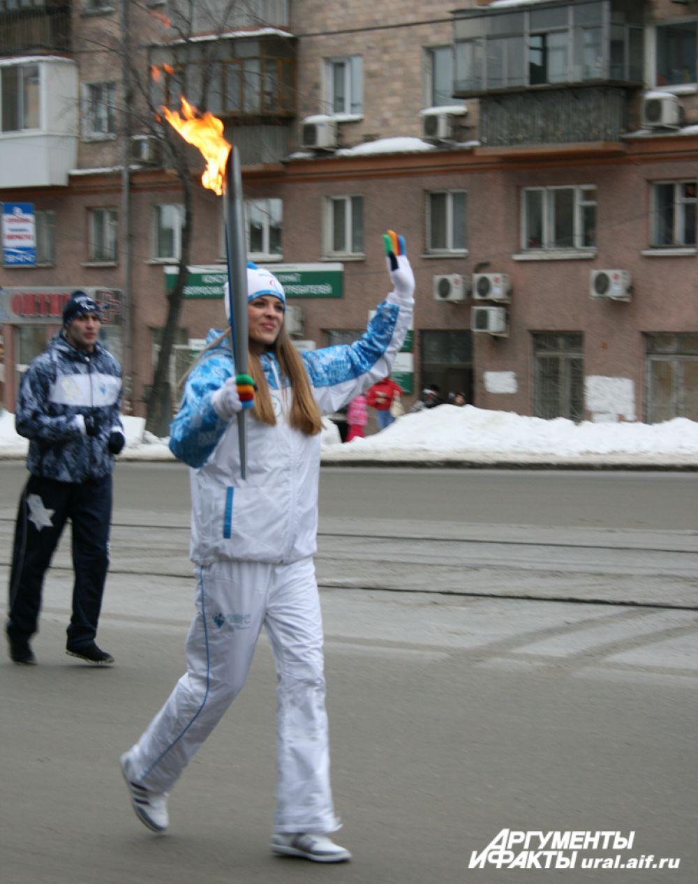 Вице-мисс Екатеринбурга 2012 года Ирина Визгалова неоднократно повторяла, что стать факелоносцем для нее большая честь.