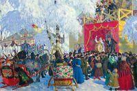 Картина Бориса Кустодиева «Балаганы». 1917 год.