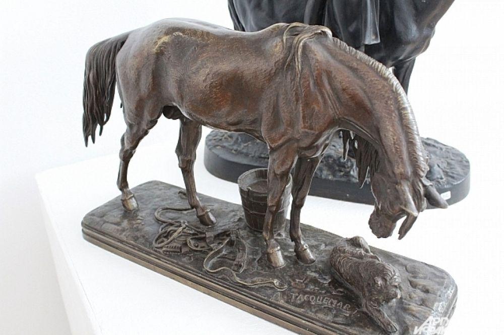 """""""Лошадь с собакой"""", бронза, 19-й век, Шакмар А. А."""