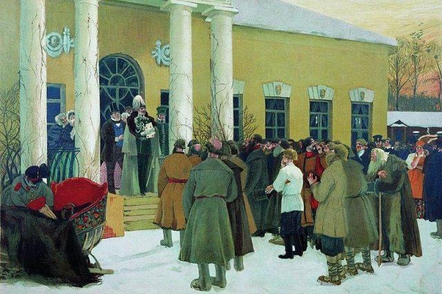 Борис Кустодиев. «Освобождение крестьян (Чтение манифеста)». Картина 1907 года.