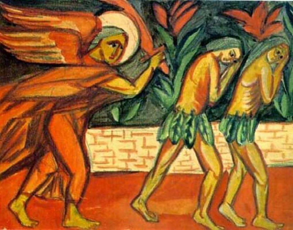 ... Змей соблазнил Еву вкусить плод с Дерева познания Добра и Зла. Ева дала плод также своему мужу — Адаму. Оба узнали, что такое стыл, оба осознали свою наготу и спрятались от Бога.  За проступком последовало наказание: Змей был проклят, и обречён ползать на животе и питаться прахом (согласно одной из версий это означает, что прежде змеи имели ноги); женщина — рожать в муках и подчиняться мужчине, а мужчина — трудиться в поте лица. Бог дал одежды людям и изгнал их из рая...