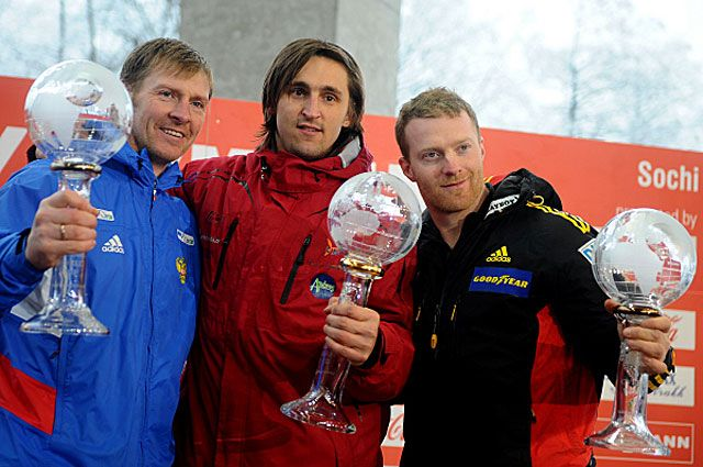 Александр Зубков, Оскарс Мелбардис и Мануэль Махата. 2013 год.