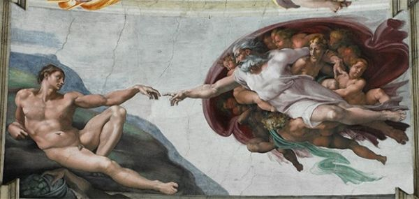 В этой работе Микеланджело воссоздал ключевой библейский сюжет — создание Богом-Отцом, окружённым ангелами, Адама. Композиция сконцентрирована вокруг жеста двух рук, через который передаётся импульс, вселяющий в человека жизненную энергию.
