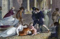 Сцена смерти и отчаяния на лондонской улице во время чумы. Гравюра 1810 года.