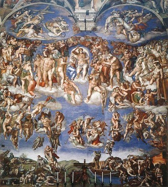 На протяжении четырёх лет Микеланджело расписывал алтарную стену Сикстинской капеллы этой фреской, изображающий второе пришествие Христа и апокалипсис. Для выполнения этой работы Микеланджело вернулся в Сикстинскую капеллу спустя двадцать пять лет после росписи потолка.