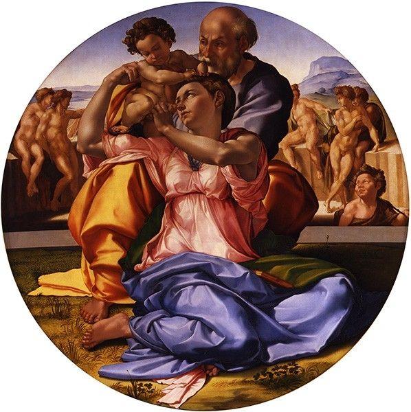 В этой работе Микеланджело изобразил Святое семейство — Деву Марию с младенцем Иисусом Христом и супругом Иосифом Обручником. В этой картине, по замыслу художника, должен был найти подтверждение тезис о том, что «совершенная живопись напоминает скульптуру».