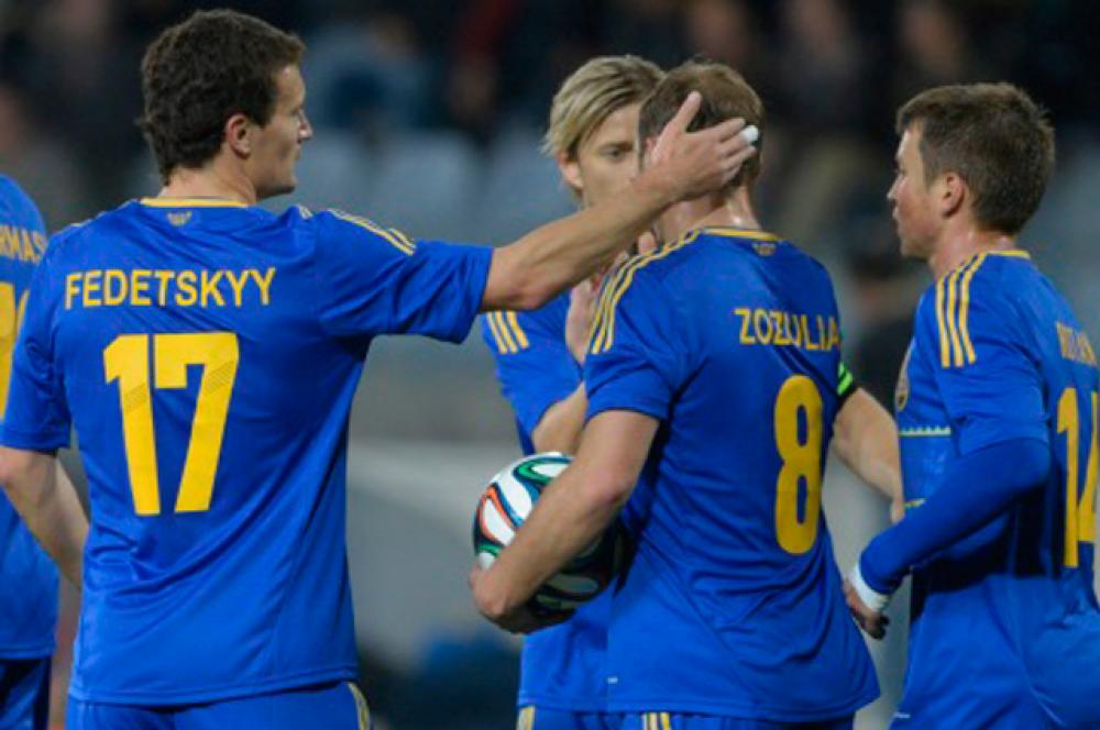 Сборная Украины после удачного момента на матче против сборной США