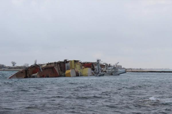 Судно затопили в бухте Донузлав недалеко от черноморского побережья Крыма