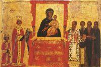 Икона «Торжество Православия» (фрагмент — Императрица Феодора и император Михаил III). Византия, первая половина XV века.