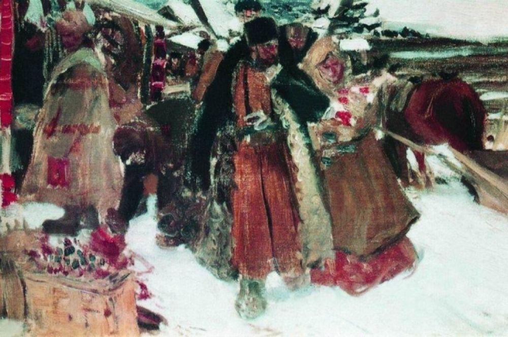 Снискав широкую известность как портретист, Кустодиев написал для одного из конкурсов картину «На базаре», выбрав жанровую тему. Эту работу художник писал с натуры в Костромской губернии. Там он кроме прочего нашел и жену – Юлию Порошинскую.