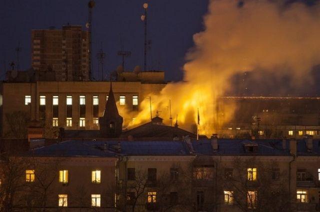 Пожар в штабе ВВО в Хабаровске