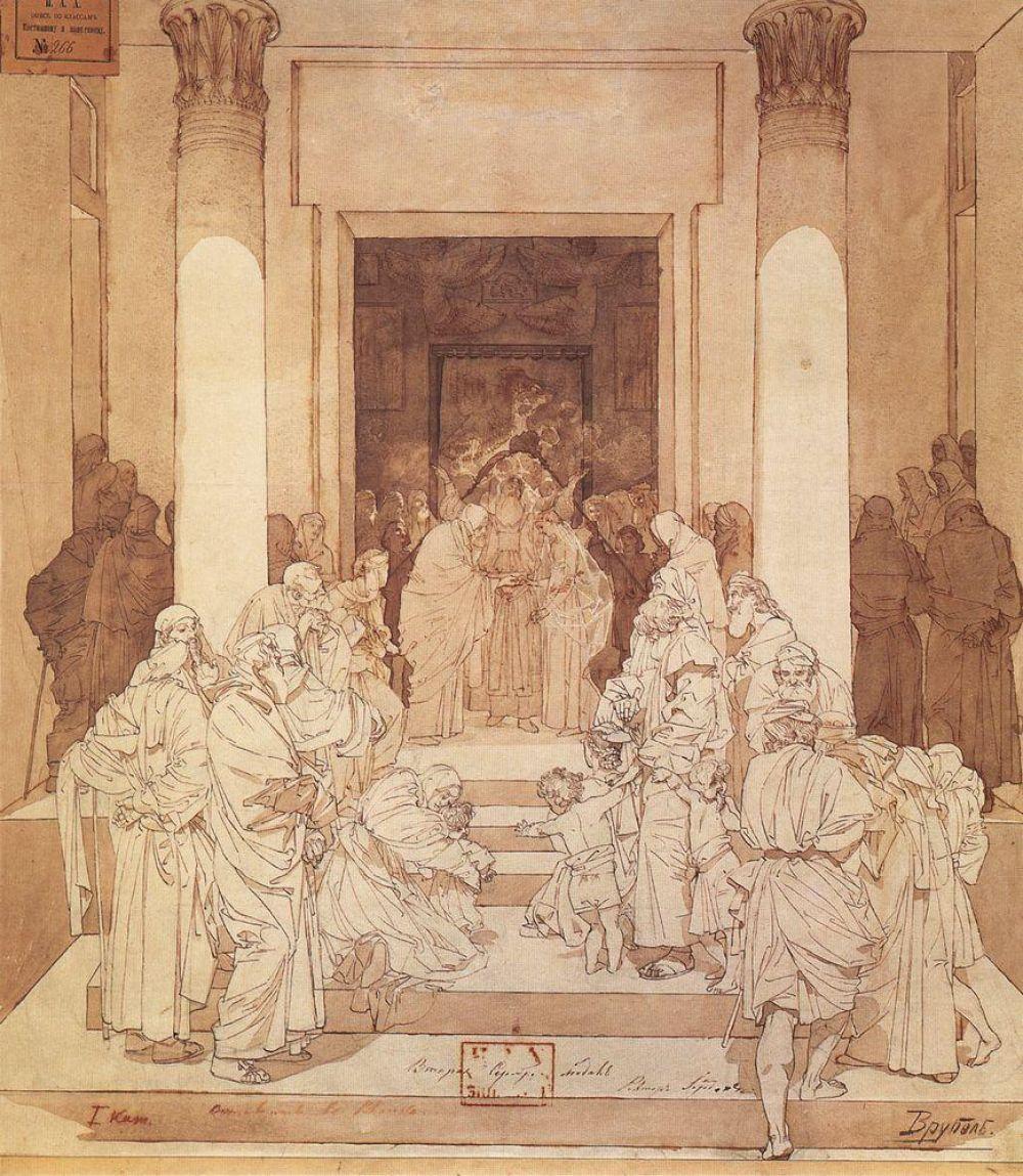 Позже Врубеля взяли вольнослушателем в Императорскую Академию художеств. Молодой художник поразил профессоров необычным стилем и вольной интерпретацией классических сюжетов. Сам Врубель в то время увлёкся импрессионизмом.