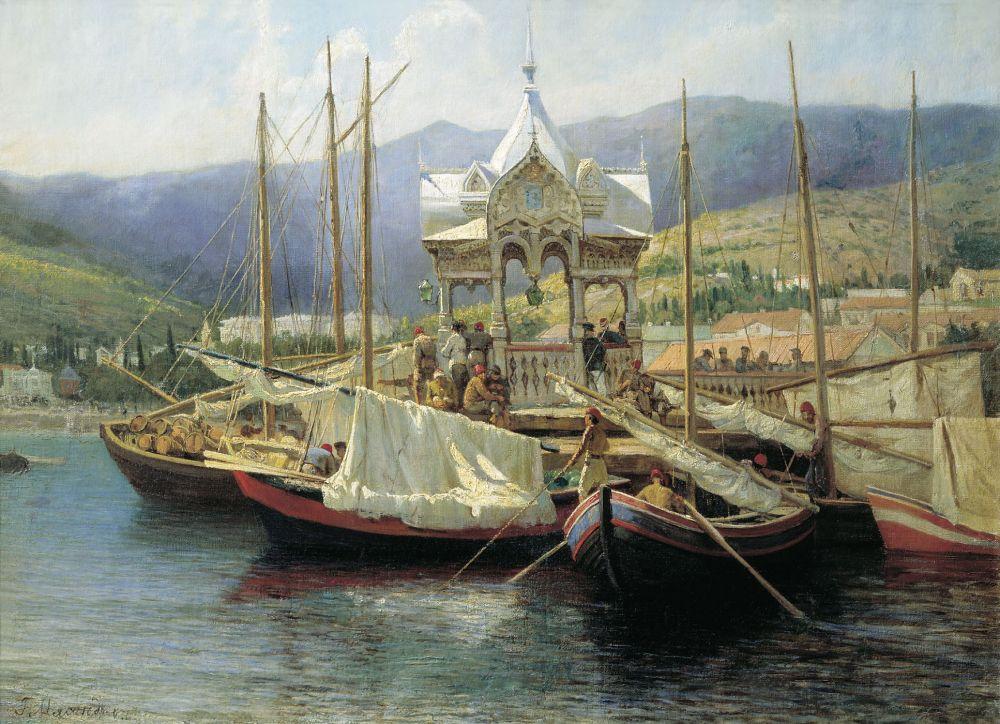Григорий Мясоедов, один из выдающихся представителей русского реализма, был активным деятелем театра, а также создал художественную школу и ряд пособий по садоводству. В 1880-х он регулярно приезжал в Крым и писал местные пейзажи.