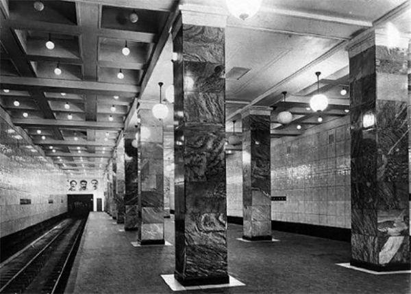 Перрон станции «Сокольники» в 1935 году.
