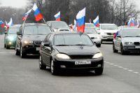 Участники автопробега «Своих не бросаем!» в Москве в поддержку россиян и русскоязычного населения на Украине.