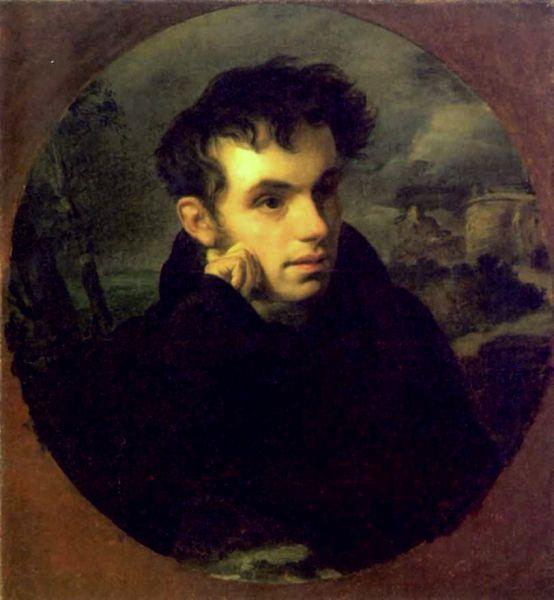 Годом позже Кипренский написал портрет Василия Жуковского. На этой картине поэту 33 года.