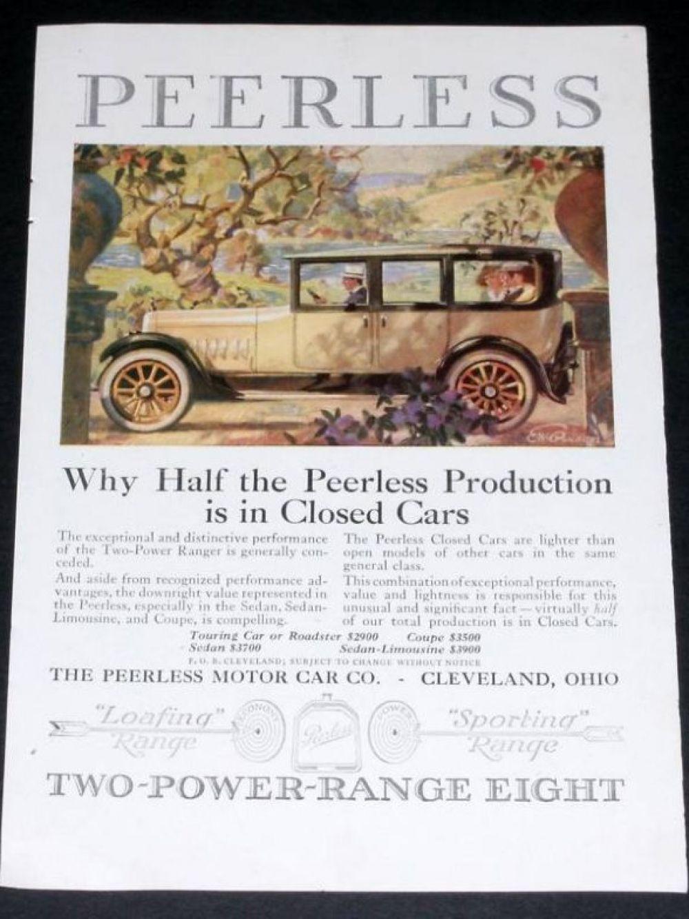 Реклама Peerless Roadster, Motor Car, 1919 год.