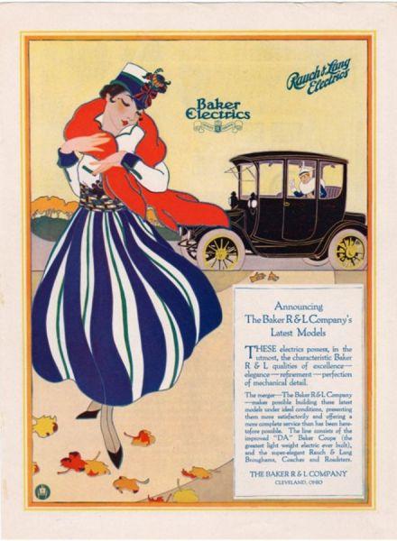 Реклама Baker Electric Cars, 1910 год.
