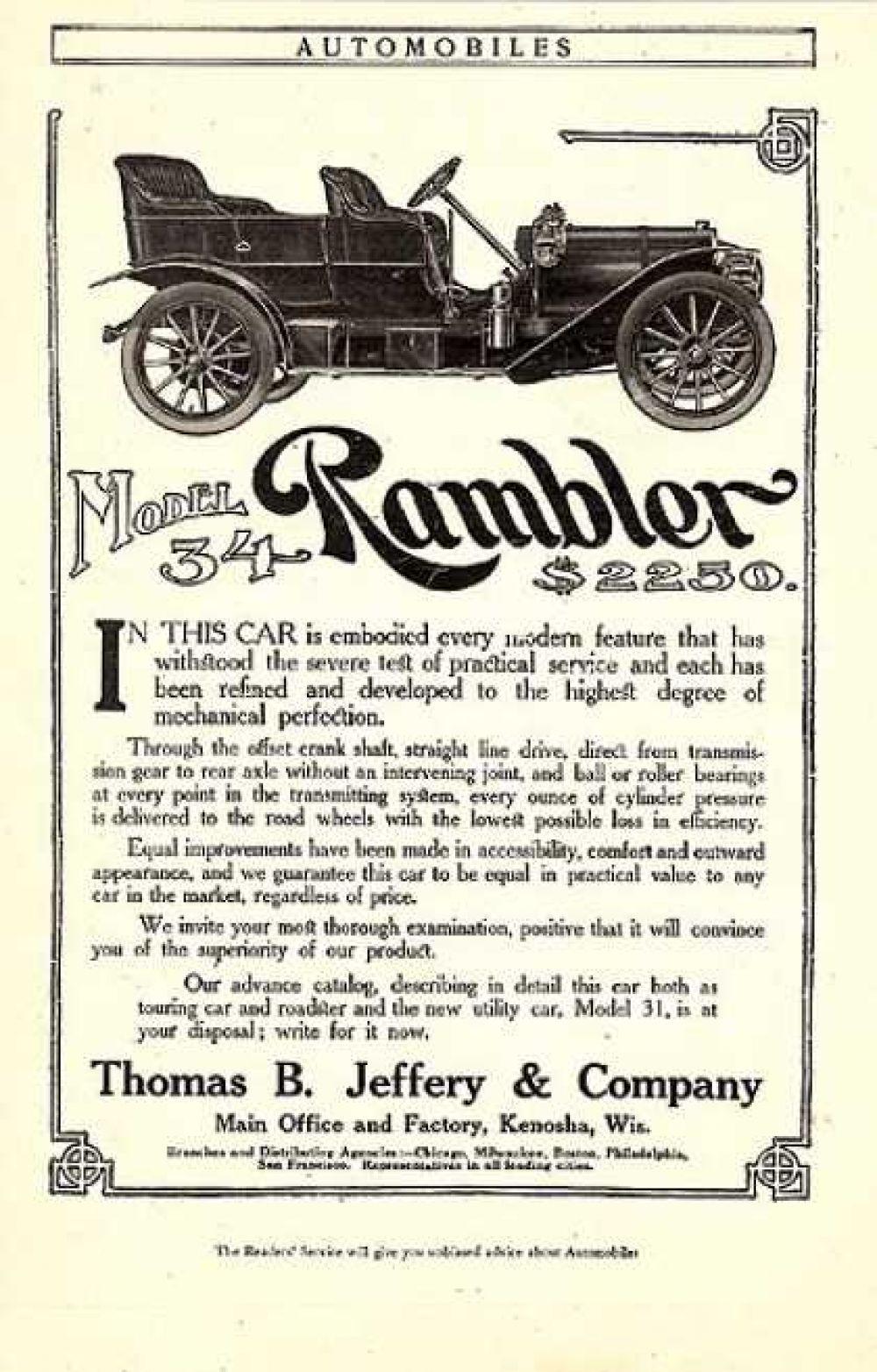 Реклама автомобиля «Рамблер», 1908 год.